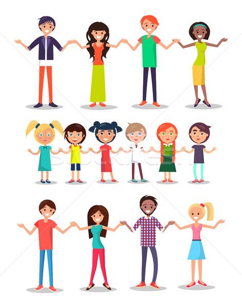 Enfants parents cartoon gens heureux heureux Photo stock © robuart