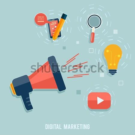 Digital comercialización diseno elegante megáfono aplicación Foto stock © robuart