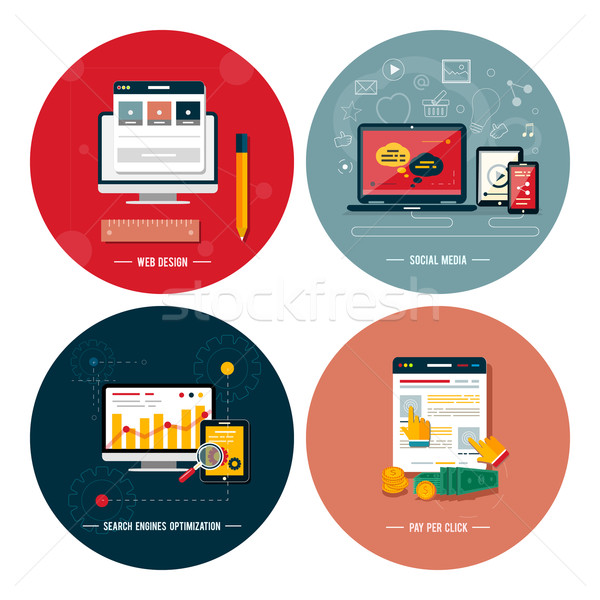 Stock photo: Icons for web design, seo, social media