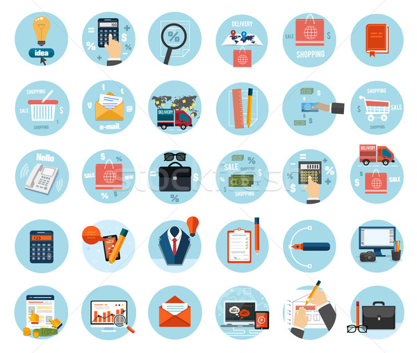 Business, office and marketing items icons. Stock photo © robuart