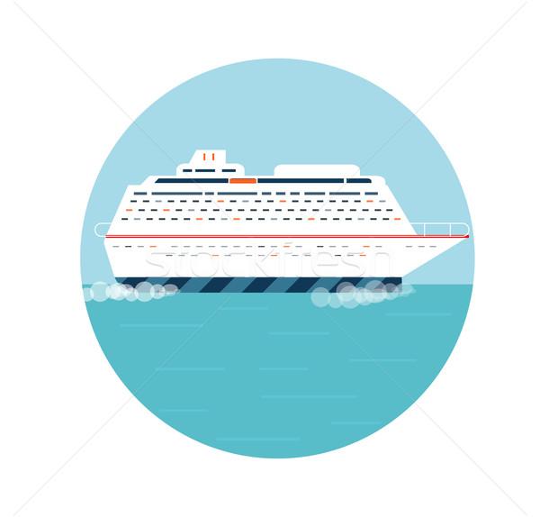Cruiseschip Blauw water toerisme iconen Stockfoto © robuart