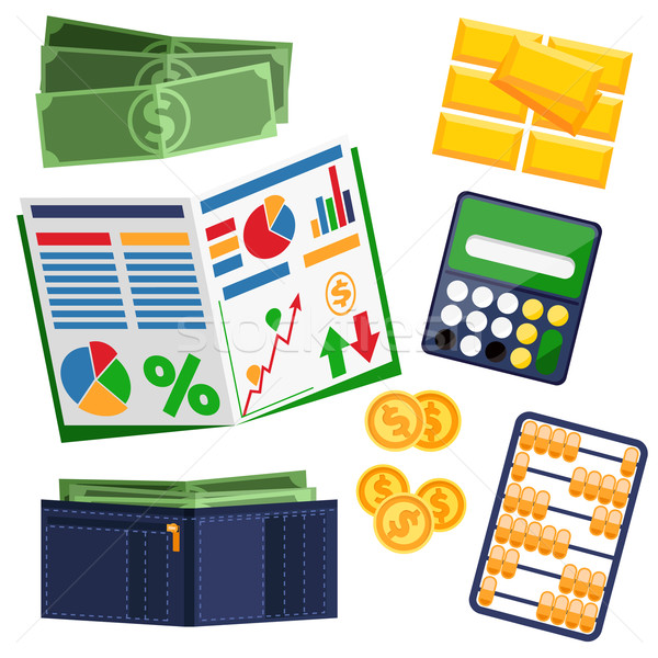 Dollar bills, calculator, leather wallet and gold Stock photo © robuart