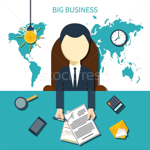 Man borden document behandelen zakenman vergadering Stockfoto © robuart
