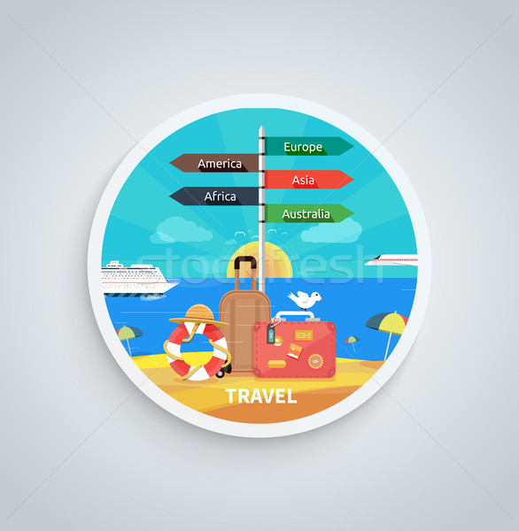 Traveling and Planning Vacation on Round Banner Stock photo © robuart