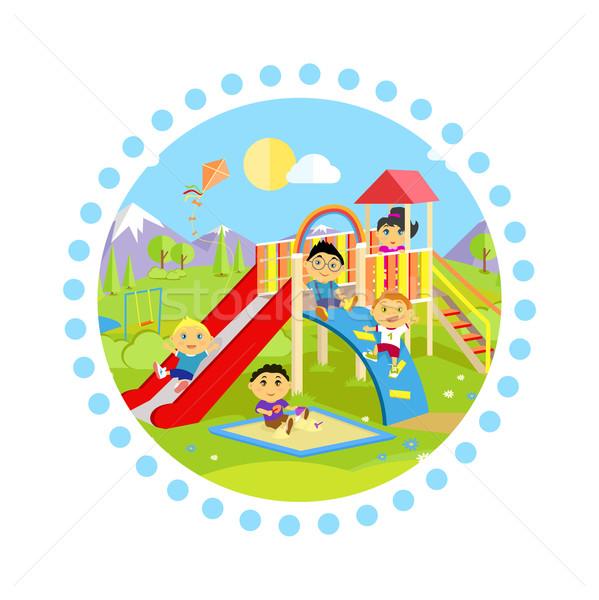 Recreio deslizar crianças parque jogar criança Foto stock © robuart