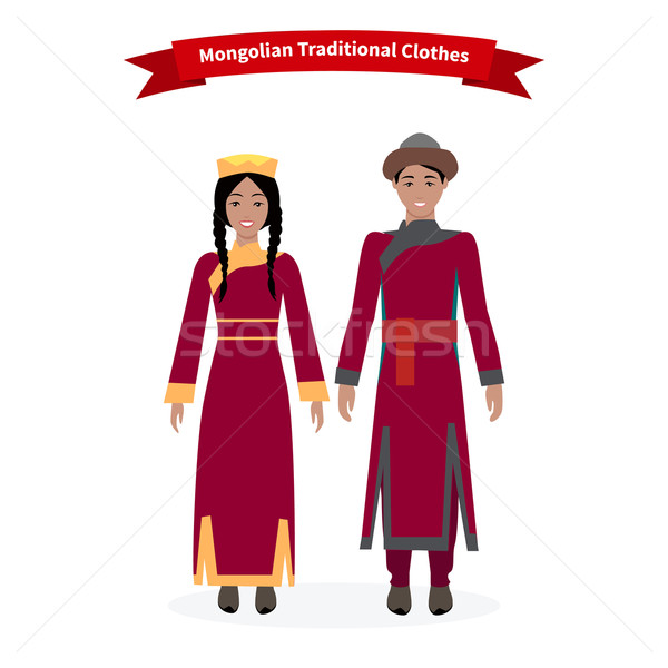Stock photo: Mongolian Traditional Clothes People