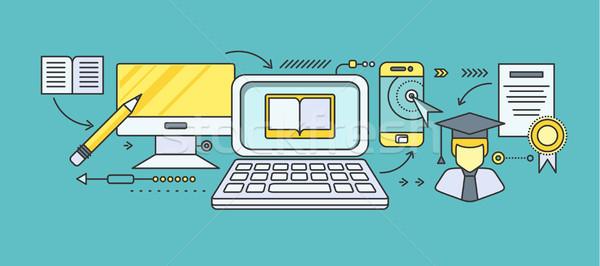 Distance apprentissage éducation ligne tutoriel vidéo Photo stock © robuart