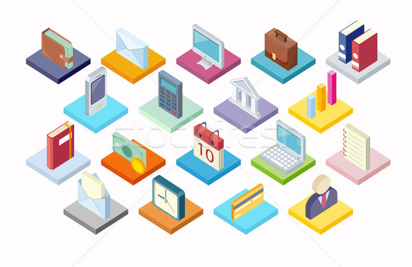 Set of Business Icon Isometry 3d Design Stock photo © robuart