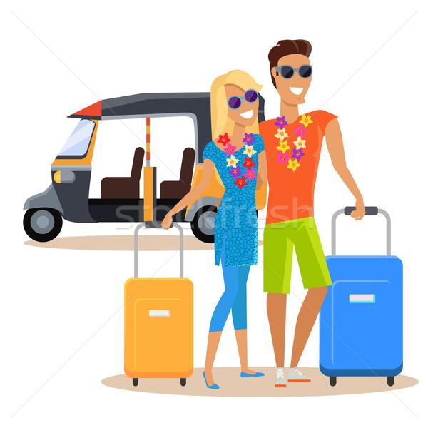 Couple vacances d'été Voyage illustration personnes Photo stock © robuart
