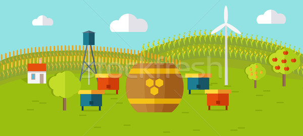 Honey Apiary Conceptual Vector in Flat Style Design.   Stock photo © robuart