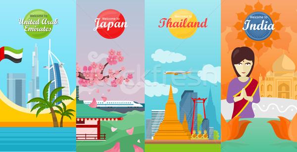 India, Emirates, Thailand, Japan Travel Posters Stock photo © robuart