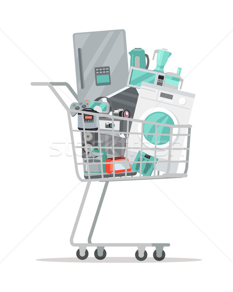 Household Appliances in Trolley Flat Style. Vector Stock photo © robuart