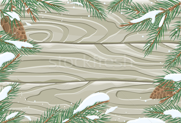 Vector Frame with Pine Tree Brunches and Cones Stock photo © robuart