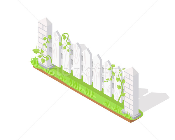 Wooden Fence Section Isometric Projection Vector  Stock photo © robuart