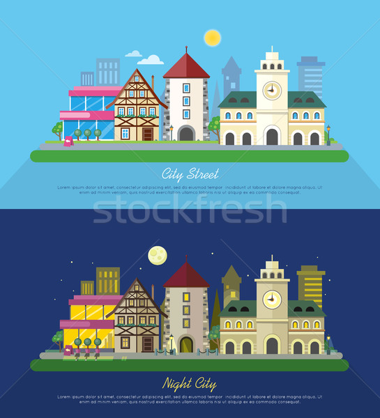 City Street Vector Illustration at Day and Night Stock photo © robuart