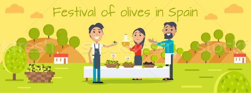 Festival of Olives in Spain Flat Vector Concept Stock photo © robuart