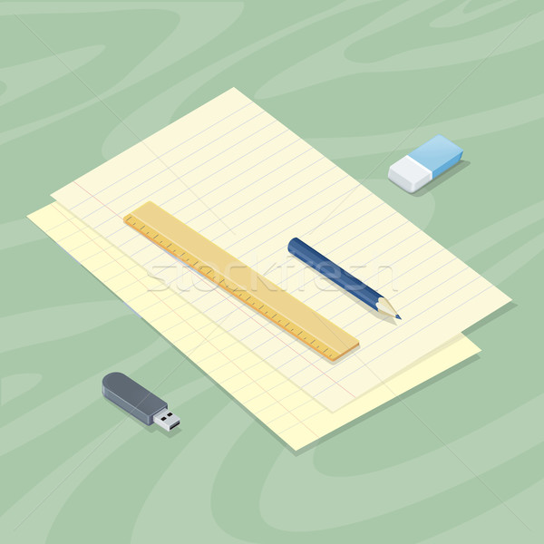 Desk with Sheet of Paper Pencil Ruler Eraser Flash Stock photo © robuart