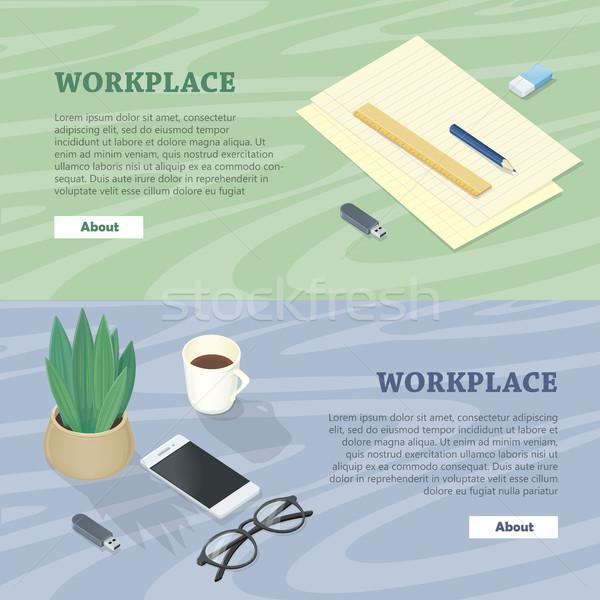 Bureau mobiele telefoon bril plant flash drive kantoor Stockfoto © robuart