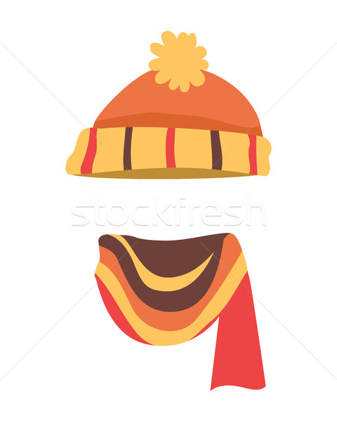 Hat. Brightful Winter Warm Headwear and Long Scarf Stock photo © robuart