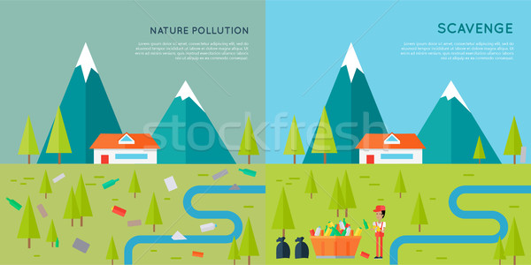 Nature pollution illustration vecteur style design Photo stock © robuart