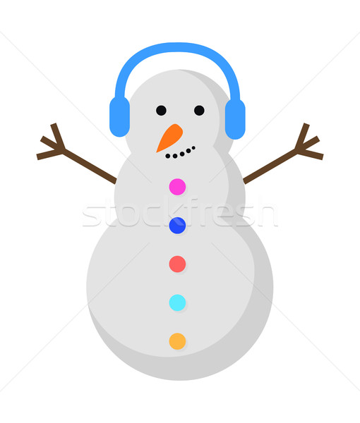 New Year Snowman with Blue Earphones on Head. Stock photo © robuart