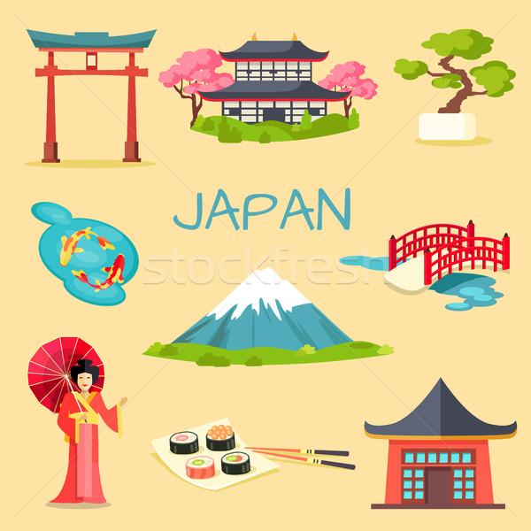Ingesteld japans symbolen vectoren cultuur- Stockfoto © robuart