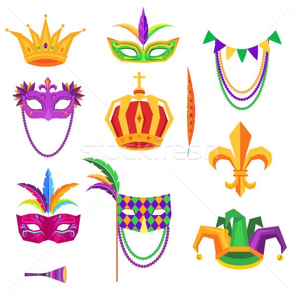 Mardi Gras Colorful Decorative Elements on White Stock photo © robuart