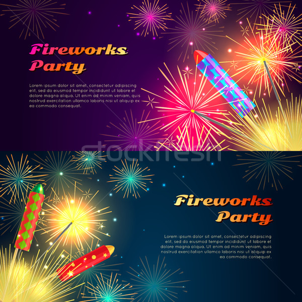 Colourful Exploding Rockets on Bright Background Stock photo © robuart