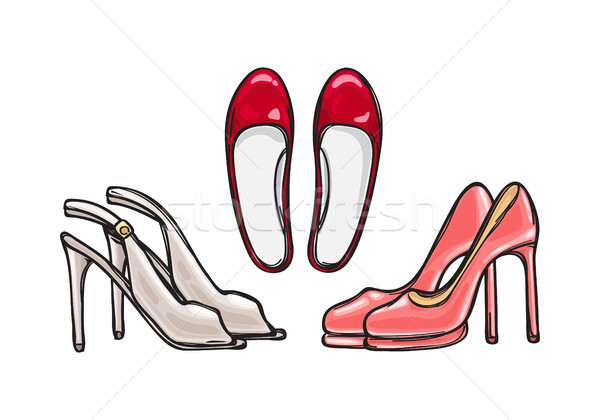 Three Pairs of Heel Shoes. Fashionable Footwear Stock photo © robuart