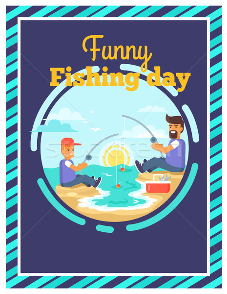 Funny Fishing Day with Father and Son Together Stock photo © robuart