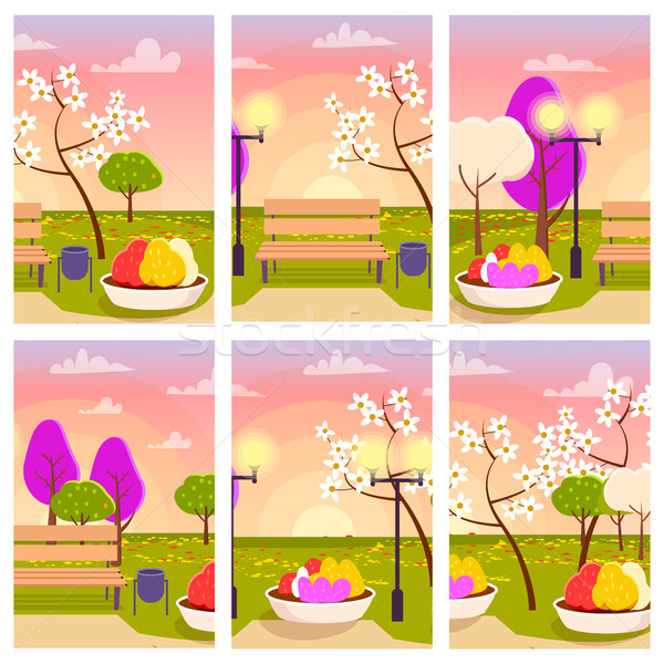 Empty Park with Flowers at Sunset Illustration Stock photo © robuart