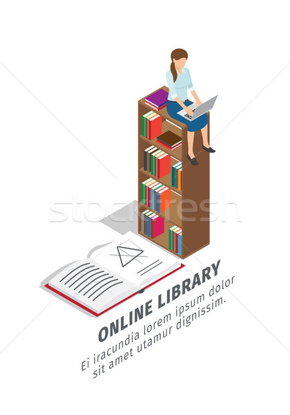 Big Online Library Promotional Poster with Books Stock photo © robuart