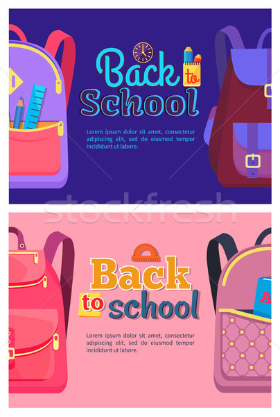 Foto stock: De · volta · à · escola · pôsteres · crianças · escolas · artigos · de · papelaria