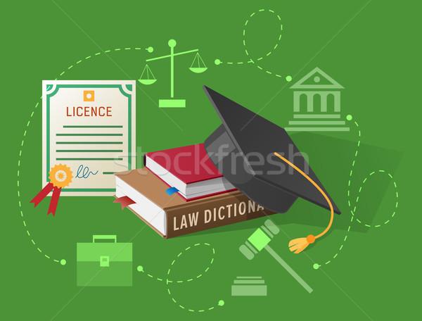 Prawnicy książek prawa akademicki hat wektora Zdjęcia stock © robuart
