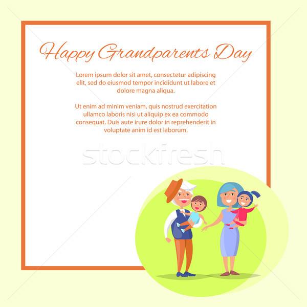 Gelukkig grootouders dag kinderen poster Stockfoto © robuart