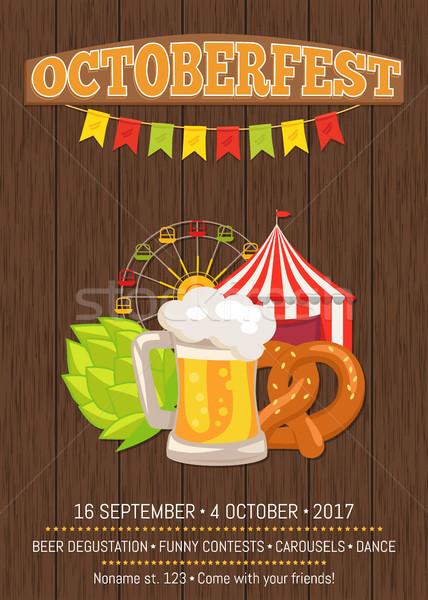 Octoberfest Promotional Poster with Food and Drink Stock photo © robuart