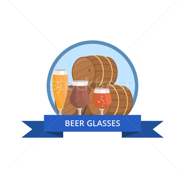 Beer Glass Logo Design Barrels and Three Glasses Stock photo © robuart