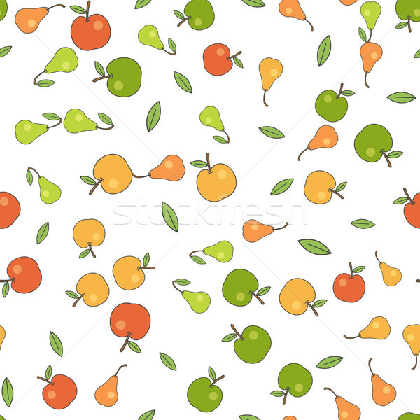 Seamless Pattern with Apples Pears and Leaves Stock photo © robuart