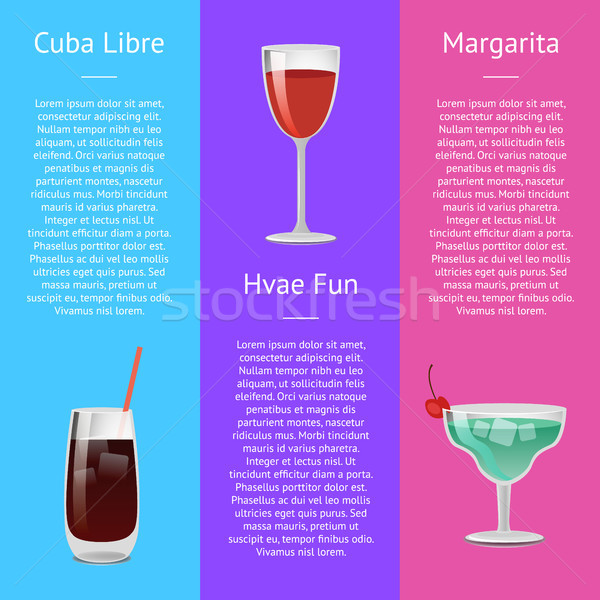 Cuba Libre, Have Fun and Margarita Alcohol Drinks Stock photo © robuart