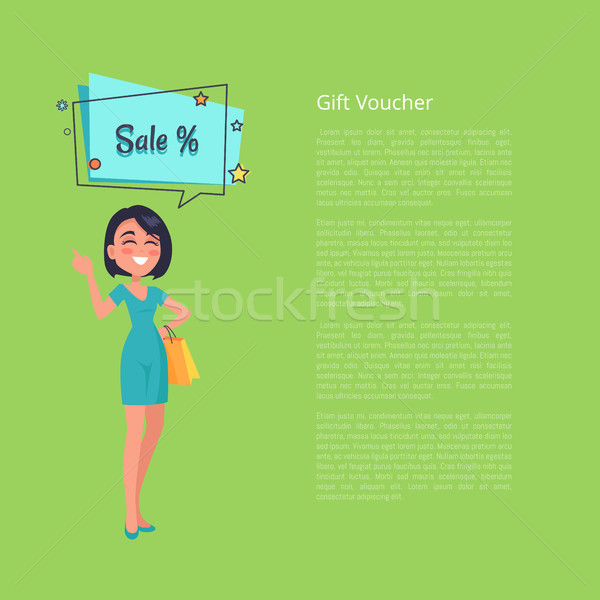 Gift Voucher with Woman Thinking about Sale Vector Stock photo © robuart