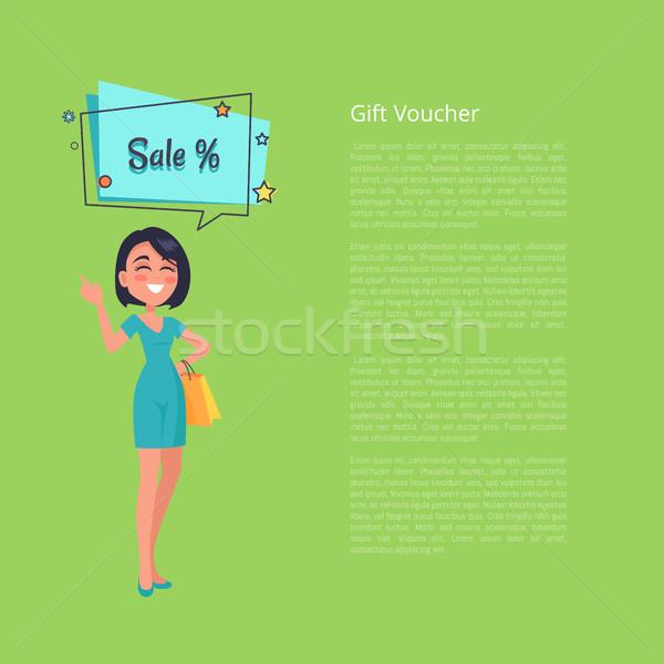 Regalo vale mujer pensando venta vector Foto stock © robuart