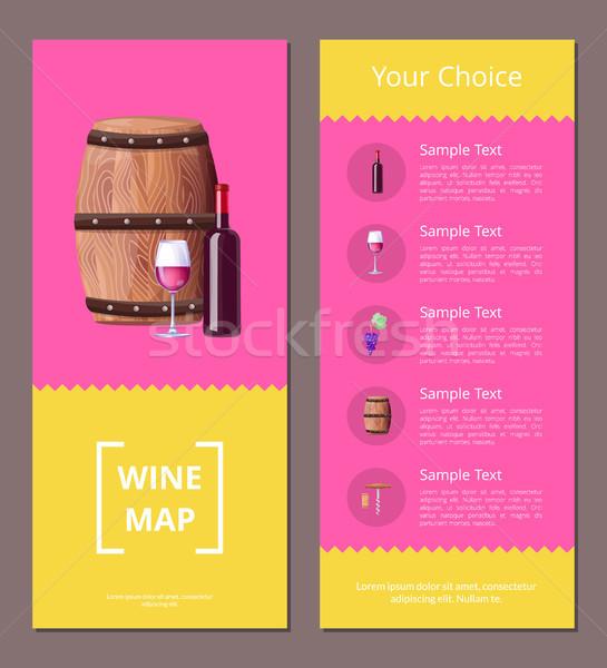 Stok fotoğraf: şarap · harita · seçim · poster · simgeler · renkli