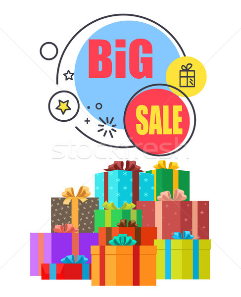 Big Sale Promo Poster with Gift Boxes in Wrappings Stock photo © robuart