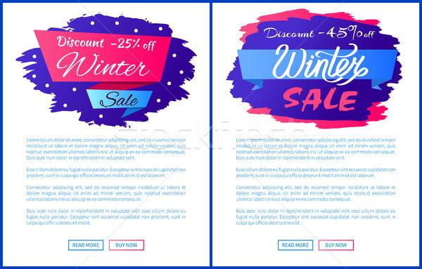 Tél árengedmény kiárusítás szett színes feliratok Stock fotó © robuart