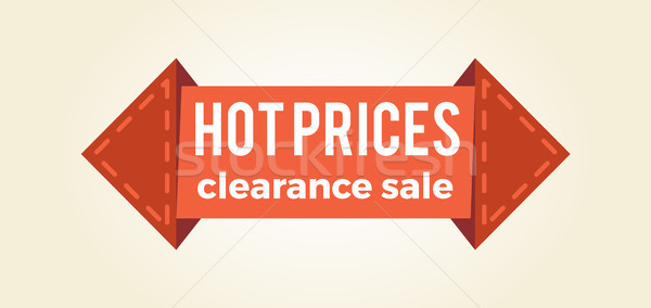 Hot Prices Clearance Sale Promo Label Arrow Shape Stock photo © robuart
