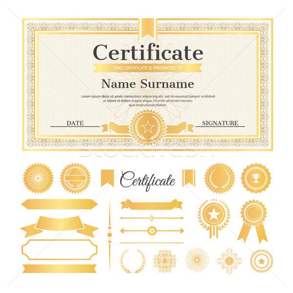 Certidão amostra selos texto nome acima Foto stock © robuart