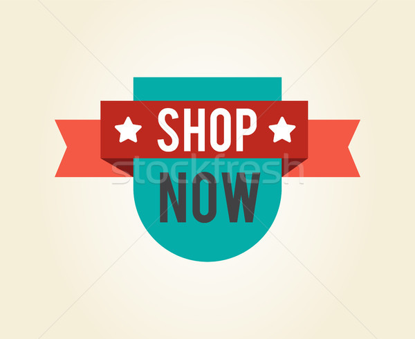 Shop Now Unique Sticker with Stars Vector Label Stock photo © robuart