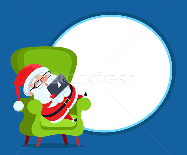 Photo Frame with Santa Claus Resting in Armchair Stock photo © robuart