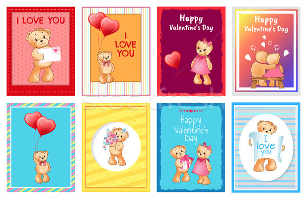 Saint valentin cartes postales amour signes adorable ours en peluche Photo stock © robuart
