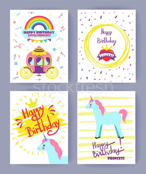Happy Birthday Princess Set Vector Illustration Stock photo © robuart